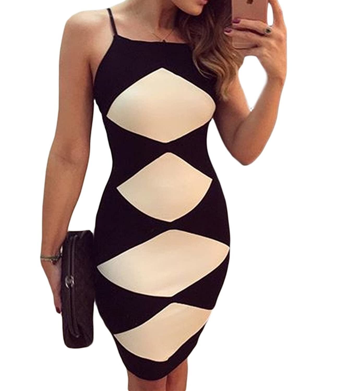 JINSEY Womens Diamond Strappy Strap Bodycon Long Midi Dress