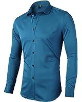 FLY HAWK Mens Dress Shirt Slim Fit Long Sleeves Elastic Bamboo Fiber Button Down Shirts