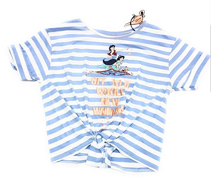 Primark - Camiseta - para Mujer Light Blue/White M 38-40