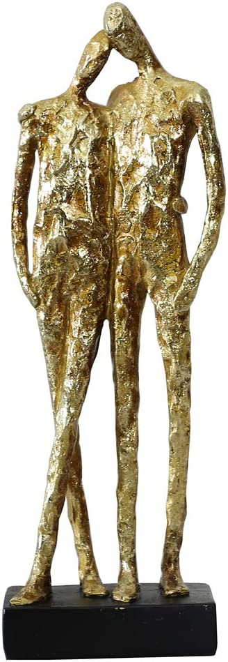 OTARTU 5 by 14 inch Romantic Couple Sculpture Reclining Together,Couple Statue for Home Decor Gold Color
