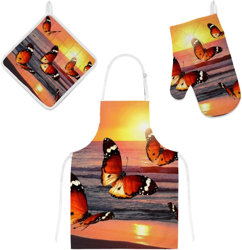 Top Carpenter Polyester Kitchen Oven Mitts Glove Potholder Apron 3Pcs Set Butterflies Under Sunset Non Slip Heat Resistant Mitts for Baking Cooking BBQ