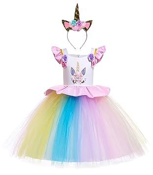 Le - SSara Traje de Unicornio Vestido de cumpleaños de Arco Iris Vestidos de Noche de Flores Tutu Vestido (140, E77-pink)