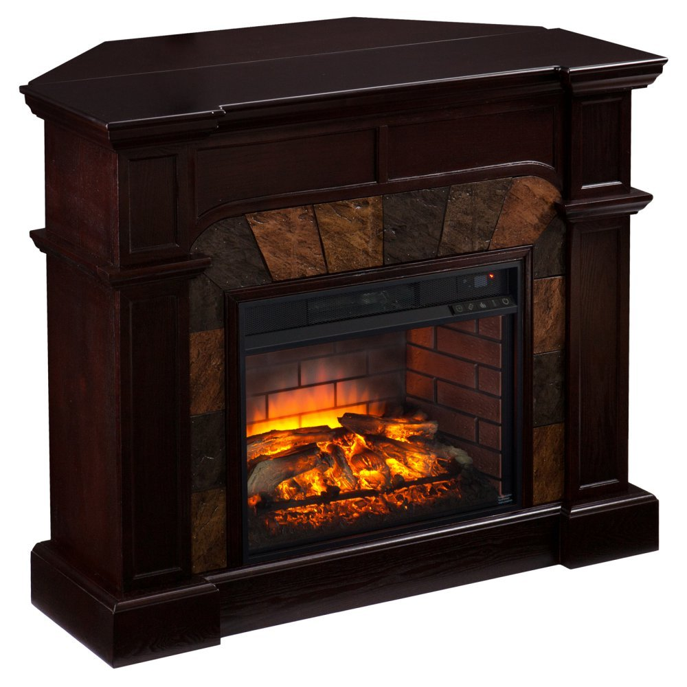 Cartwright Faux Stone Corner Infrared Fireplace - Espresso, By SEI