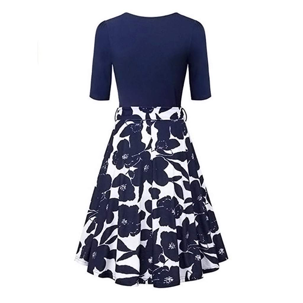 HARRYSTORE Womens Wrap V Neck Dress Elegant Vintage A Line Dress Short Sleeve Flared Dress