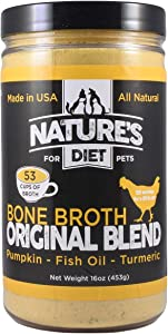 Nature's Diet Pet Bone Broth Protein Powder with Pumpkin, Fish Oil and Turmeric (Chicken, 16 oz = 159 Servings)