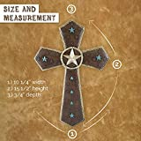 Pine Ridge Spectacularly Elegant and Beautiful Embellished Leather Look Western Wall Cross. Turquoise Star Accents with Bronze Star Center.