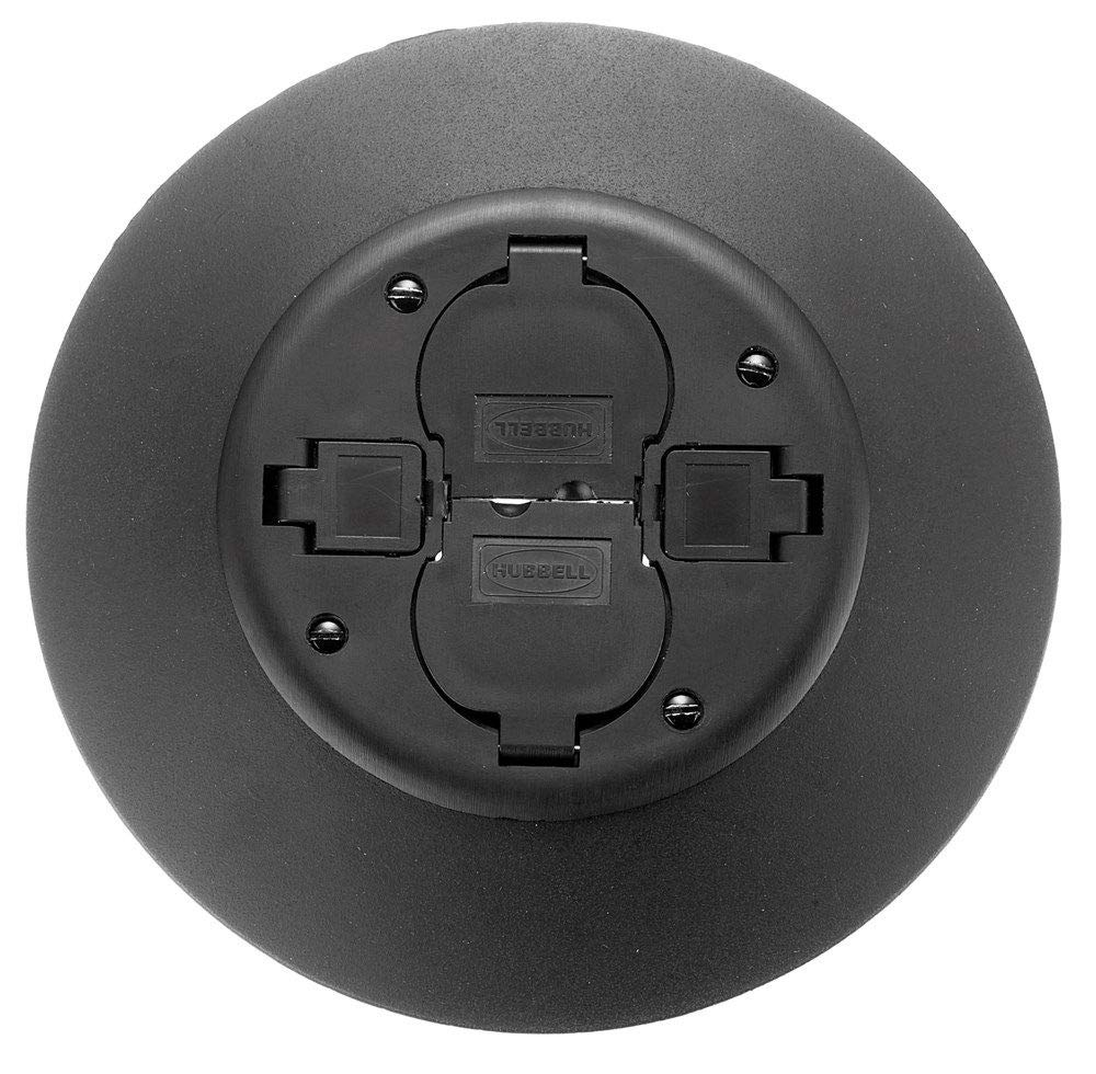 Hubbell Wiring Systems PT2X2SFBL Aluminum Fire-Rated Poke-Through Service Fitting, 7'' Diameter x 16.67'' Length, 3'' Core Hole, Black
