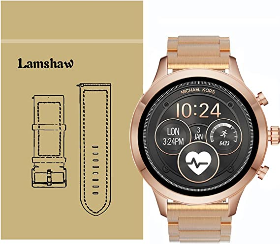 for Michael Kors Access Runway Bands, Lamshaw Stainless Steel Metal Replacement Straps for Michael Kors Womens Access Runway Smartwatch (Rose Gold)