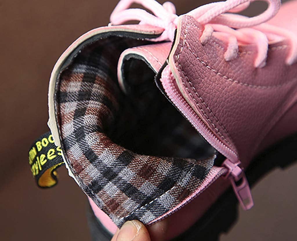 Children Warm Baby Boys Girls Solid Lace Up Sneaker Boots Snow Baby Casual Martin Shoes