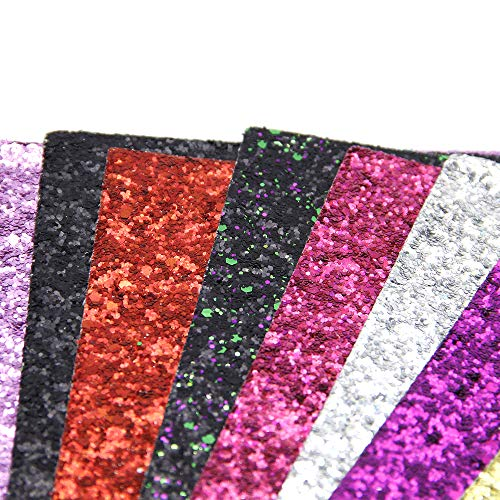 David accessories Glitter Sequins Fabric Faux Leather Sheets Synthetic Leather Fabric 11 Pcs 8'' x 13'' (20 cm x 34 cm) Assorted Colors Thick Canvas Back Craft for DIY Earrings Making (11 Color) by David accessories (Image #4)