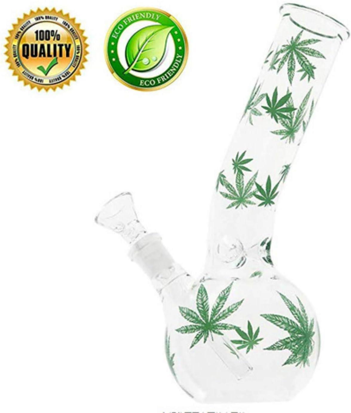 Kiwini Handmade Leaf Pattern Glass Crafts Water Beaker 7.5 Inch Green