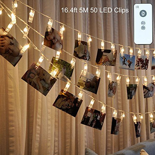 50 LED Photo Clips String Lights with Remote Control B1ST 16.4ft 5M Lights USB Powered Fairy Twinkle Rope Lighting Party Christmas strand Light for Pictures Notes Artwork LED Decor with 8 Modes (Led Twinkle Net Lights)