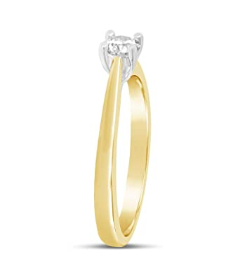 153d80724f075 1 3 carat round brilliant cut diamond solitaire yellow gold ring - 4 claw   Amazon.co.uk  Jewellery