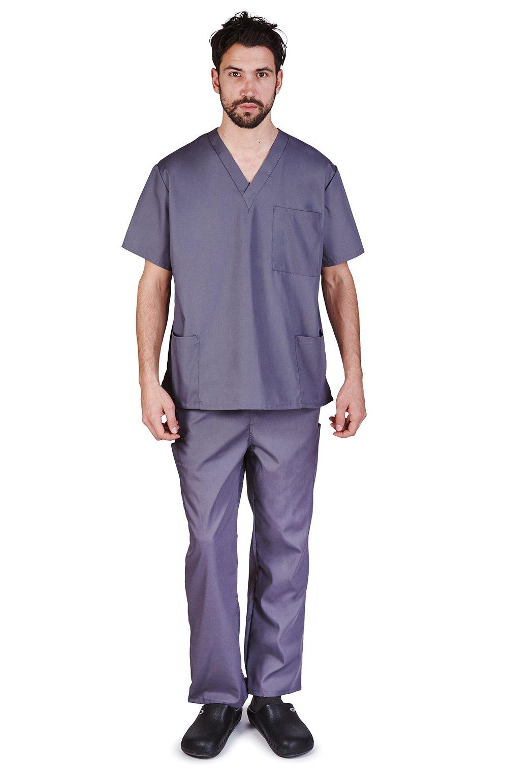 M&M SCRUBS Men Scrub Set Medical Scrub Top and Pants M Charcoal