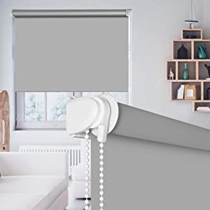 "SEEYE 100% Blackout Waterproof Fabric Window Roller Shades Blind, Thermal Insulated,UV Protection,for Bedrooms,Living Room,Bathroom,The Office, Easy to Install 20"" W x 79"" L(Grey)"