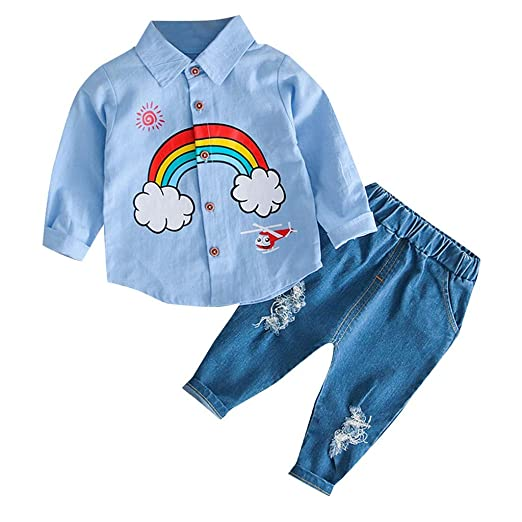 c458ef96c Unisex Toddler Boy Girl Cute Rainbow Buttons T-Shirt Coat Long Sleeve and  Ripped Jeans