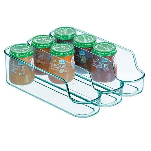 mDesign Caja de plástico separadora para guardar comida para bebés – Organizador de biberones pequeño con 3 compartimentos – Caja organizadora abierta ...