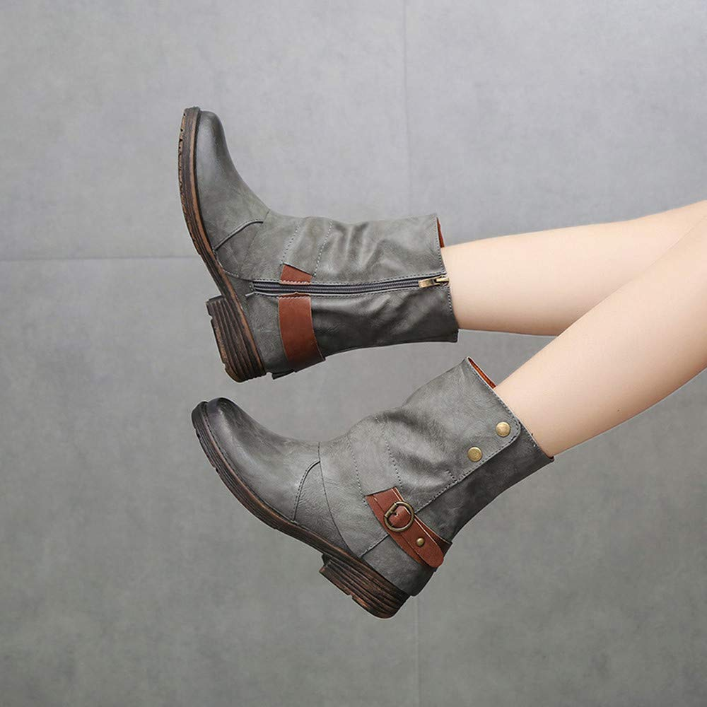 for Shoes,AIMTOPPY Female Vintage Round Head Zip Leather Warm Boots