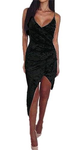 Sarin Mathews Women's Sleeveless Bodycon Deep V Neck Velvet Bandage Midi Dress