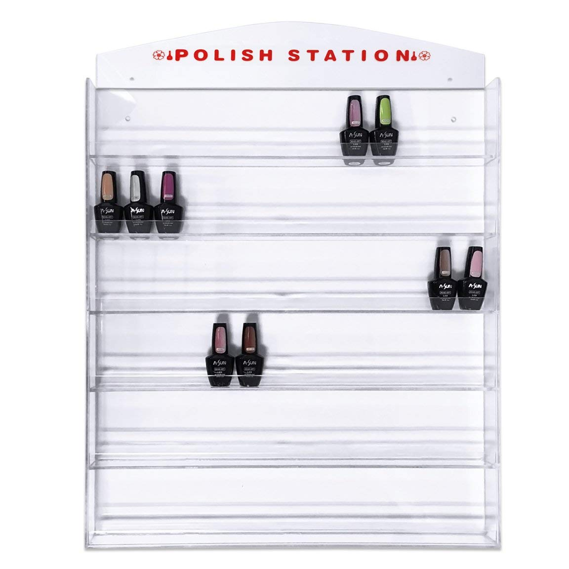 Acrylic 6 Rows Transparent Clear Nail Polish Wall Display Rack – Holds up to 90 to 120 Bottles