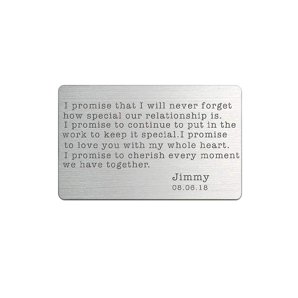 Custom Wallet Insert Card Engraved Name Personalised Anniversary Wallet Insert Metal Wallet Card Personal Love Note (Promise Wallets Insert Card)