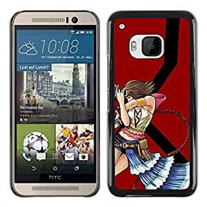 LECELL--Funda protectora / Cubierta / Piel For HTC One M9 -- Sexy Girl with Guns --