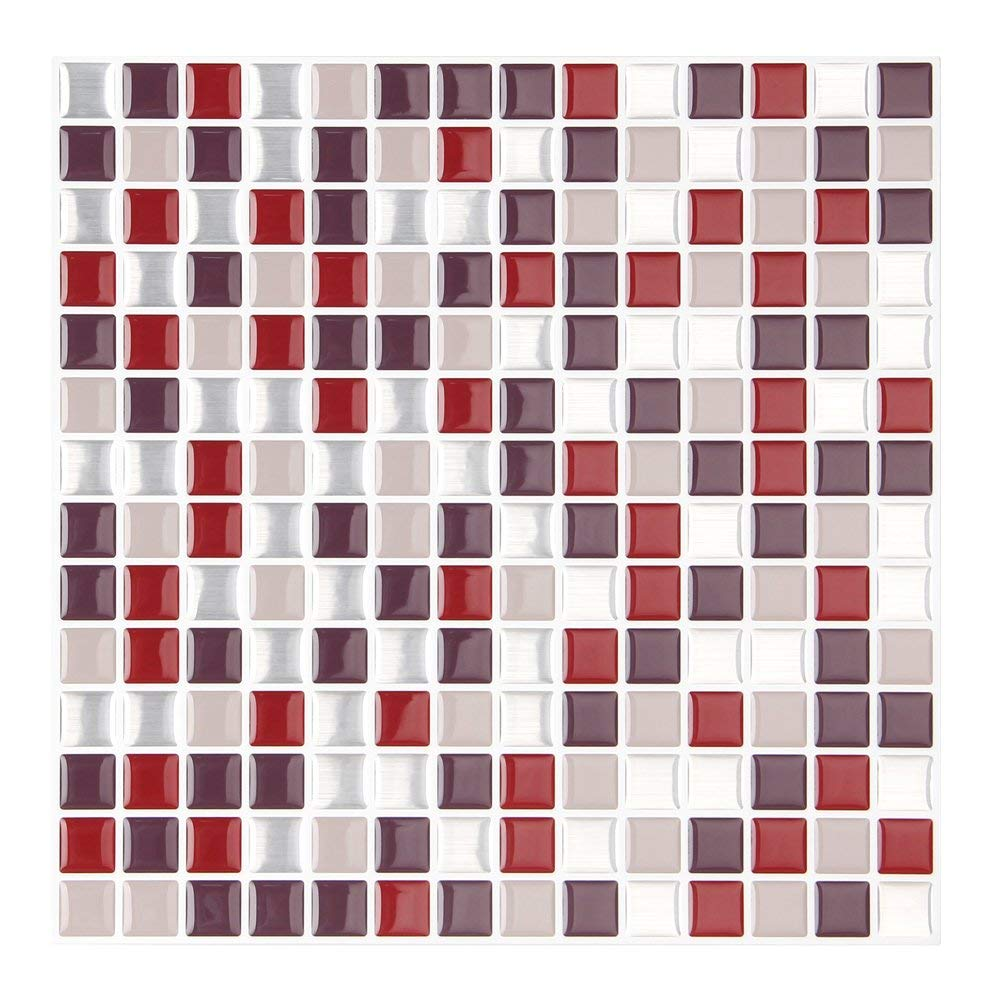 FARONZE Kitchen Mosaic Wall Tiles Peel and Stick Self-Adhesive DIY Backsplash Stick-on Vinyl Wall Tiles for Kitchen and Bathroom 10'' X 10'' Each, 4 Sheets Pack (Burgundy)