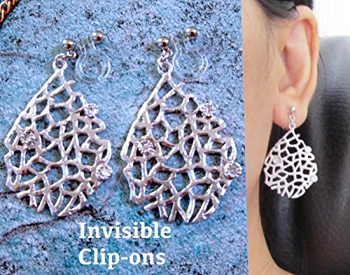 Satin Pierced Earrings - Pave CZ Crystal Rhinestone Dangle Hammered Drop clip on earrings, 21AMZ, Nest wire mesh coral tree Matte Satin Silver plated Geometric Long non pierced earrings