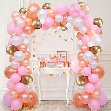 SPECOOL Decoración de cumpleaños en Globos de Oro Rosa, 100 Piezas Rosa Pálido Oro Rosa Blancos de Oro de Globos,Globo de Fiesta Decoraciones para ...