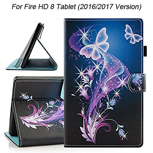 Fire HD 8 Case (2016/2017 Release), Dteck Cartoon Cute Flip Folio Smart Stand Case with [Auto Sleep Wake Feature] Synthetic Leather Magnetic Wallet Cover for Amazon Fire HD 8-Butterfly Flowers by Dteck