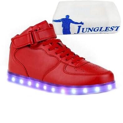 [Present:kleines Handtuch]Weiß EU 37, Unisex JUNGLEST® Leuchtend Sport Aufladen LED Tanzen weise Rollbrett USB Glow Sneakers Party Schuhe High-Top 7 Dam