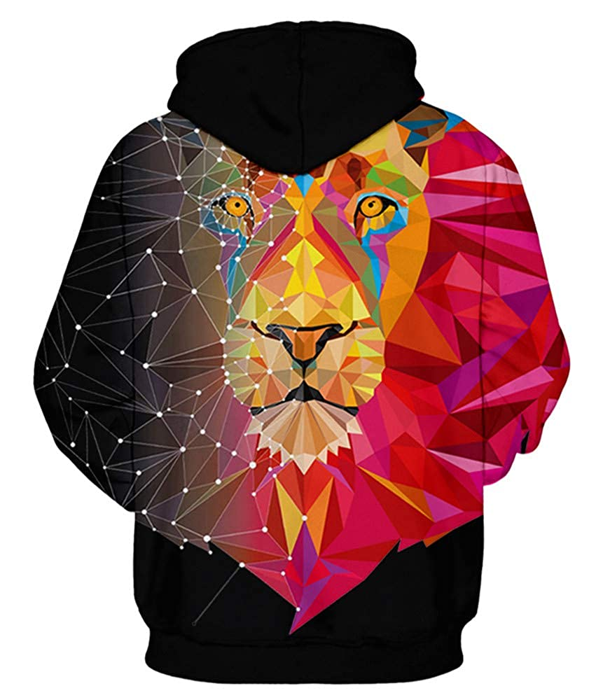 b73d55cb1f18 ENLACHIC Unisex Realistic 3D Wolf Lion Printed Pullover Hoodie Hooded  Sweatshirt at Amazon Men s Clothing store