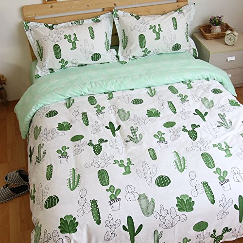 amazoncom lelva cactus print bedding duvet cover set for kids quiltcomforter cover fitted sheet queen 4pcs home kitchen - Cactus Bedding