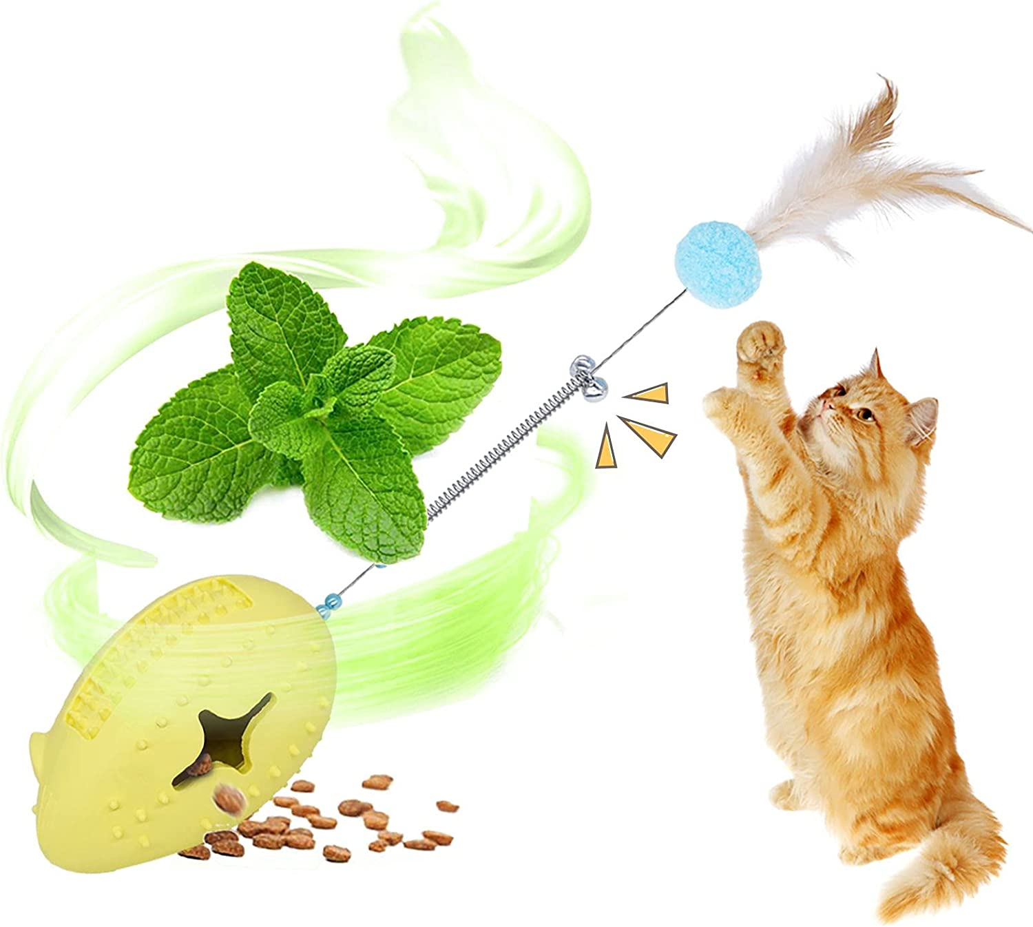 Petdexon Catnip Toys for Indoor Cats,5 in 1 Interactive Puzzle Mouse Cat Chew Toys, Cat Feather Teaser Toy with Spring Bell,Rubber Food Dispenser Toy, Kitten Toys for Massage Scratching,Yellow