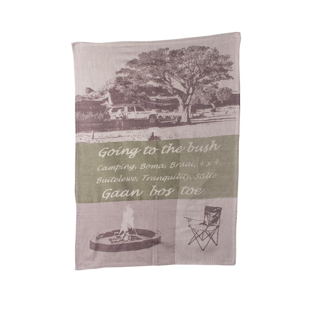 Iniva | African Jacquard Tea Towel Going to the Bush Beige
