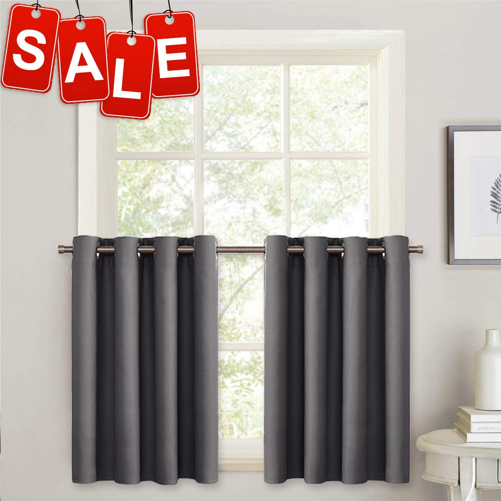 """PONY DANCE Blackout Curtain Tiers - Grommet Top Light Block Valances for Kitchen Small Windows Thermal Curtain Blind Short for Energy Saving, 52"""" W x 36"""" L, Navy Blue, 2 Pieces"""