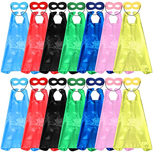 For Costumes Kids Diy Superhero (Child Superhero Capes and Masks DIY Dress Up Costumes for Birthday Party (14 Capes +14)