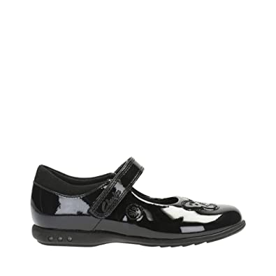 a7cb24a80d215 Clarks Girls Lights On School Shoes Trixi Rose - Black Patent - UK Size 8F -