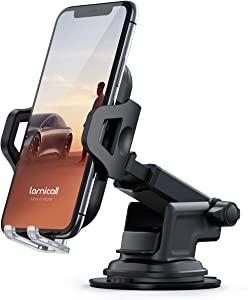 Dashboard Car Phone Holder Mount - Lamicall Dash & Windshield Suction Phone Mount Stand for Car with Extendable Arm, Universal Compatible with iPhone 11 Pro Xs Max XR X 8 7 6 Plus, 4-6.5'' Smartphones
