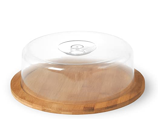 2 opinioni per H&H Porta Formaggio con Base in Bamboo, Plastica, Trasparente
