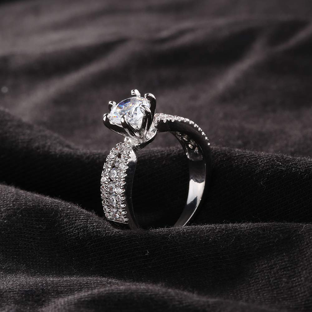 Alamana Six Claw Cubic Zirconia Fashion Women Engagement Proposal Finger Ring Jewelry US 6