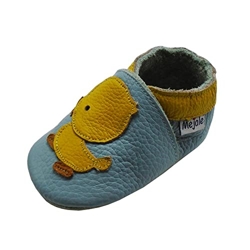 Mejale Baby Shoes Soft Sole Leather Crawling Moccasins Cartoon Duck Infant Toddler First Walker Slippers