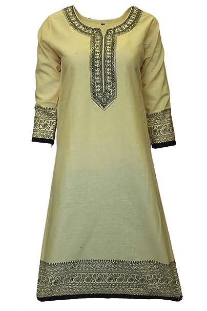 Krishna Sarees KUR3020 Top de Kurti en negro y limón, túnica hindú Indian Bollywood Kurti
