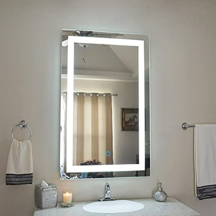 Illuminated LED Bathroom Mirror 24x36 Inch Contemporary Lighted Vanity  Mirror For Makeup With Defogger And Touch