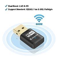 Zoweetek®Receptor WiFi Mini Adaptador USB inalámbrico Dual Band AC600 WiFi 2.4GHz 150Mbps o 5Ghz 433Mbps Compatible con Windows XP/7/8/8.1/Mac X 10.7-10.10