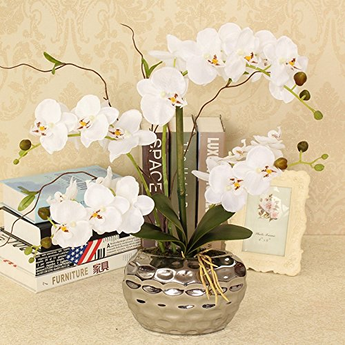 White Orchid Bouquets - LighSCH Artificial Flowers Fake Orchid Phalaenopsis Bouquet American Ceramic flower pots White