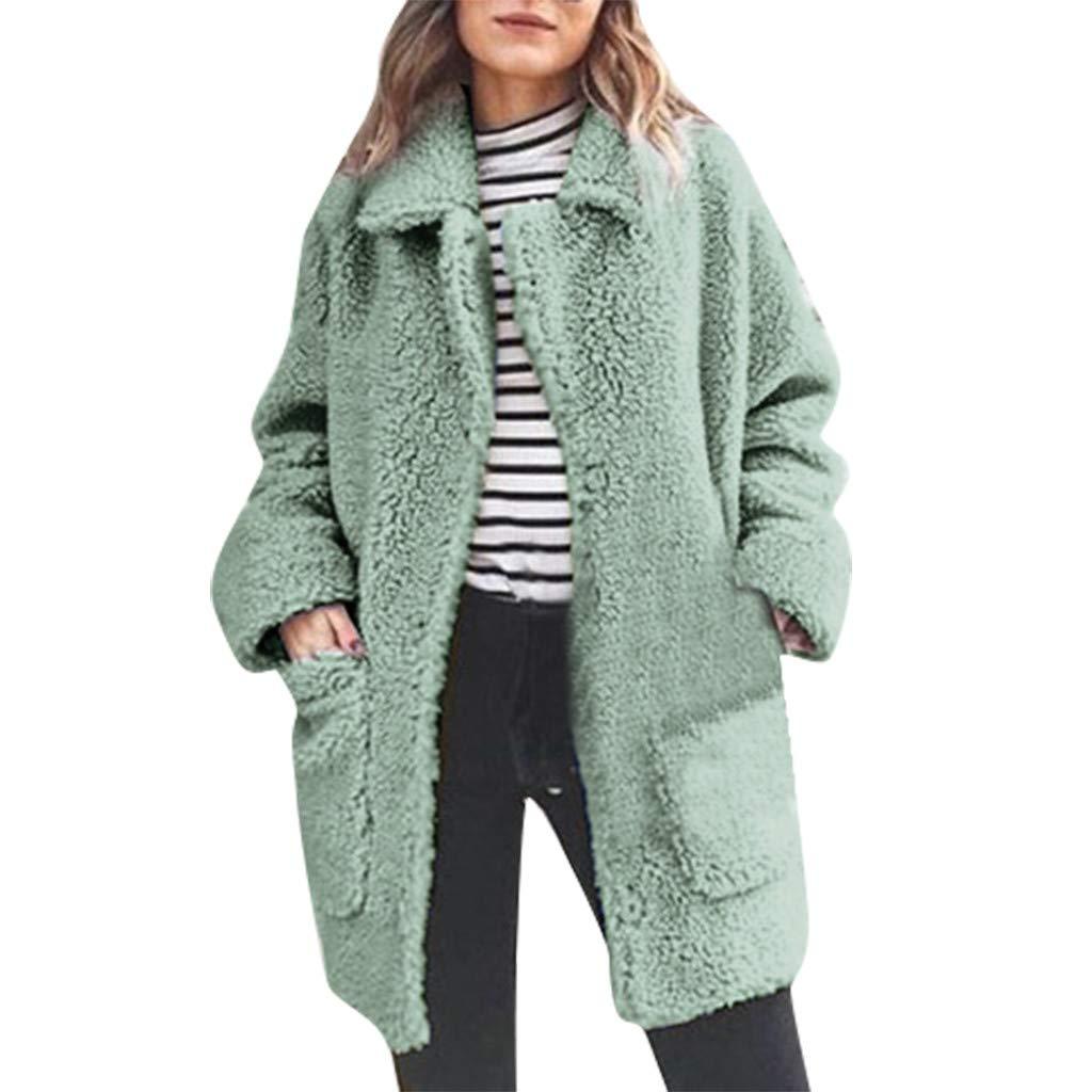 IEasⓄn Women's Coat Casual Jacket Winter Stay Warm Parka Outwear Plush Pocket Outercoat Coat Green