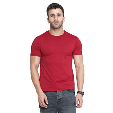 f7dc572aeb CHKOKKO Dry Fit Round Neck Polyester Half Sleeves Plain Sports and Gym T  Shirt for Men's