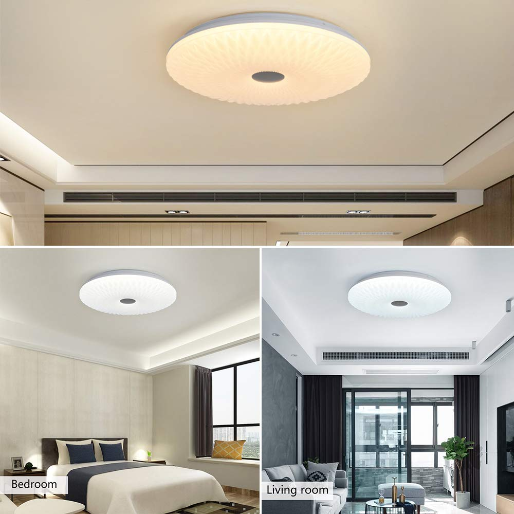 180W Incandescent Bulb Equivalent AUDIAN Flush Mount Ceiling Light Ceiling Lamp Modern K9 Crystal Bead Ceiling Flush Mount Dimmable LED 24W 14.2inch 4000K for Gangway Corridor Bedroom Bathroom