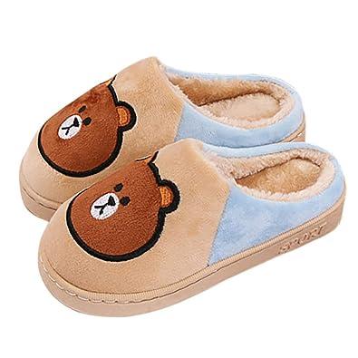 f1701faa4 Boy's & Girl's Cute Animal House Slippers Bear Bunny Fuzzy Indoor Warm  Shoes/Anti-